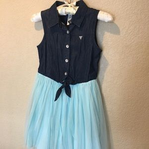 🌷Girls' tie front tulle & denim dress